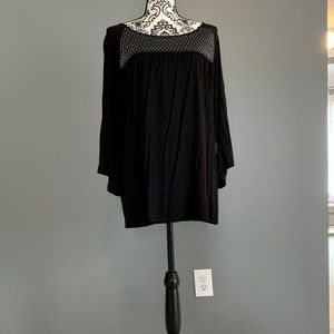 NWT black loose fitting top with silver detail
